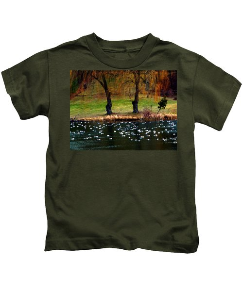 Geese Weeping Willows Kids T-Shirt