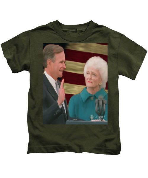George Hw Bush Inauguration  Kids T-Shirt by Jack Bunds