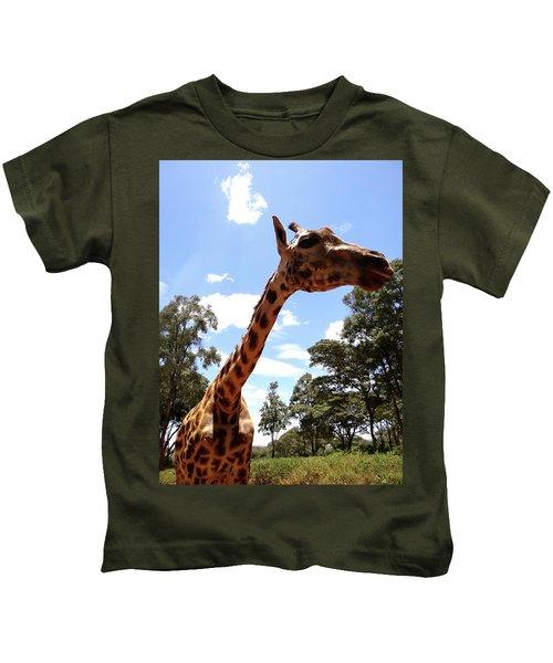 Giraffe Getting Personal 3 Kids T-Shirt