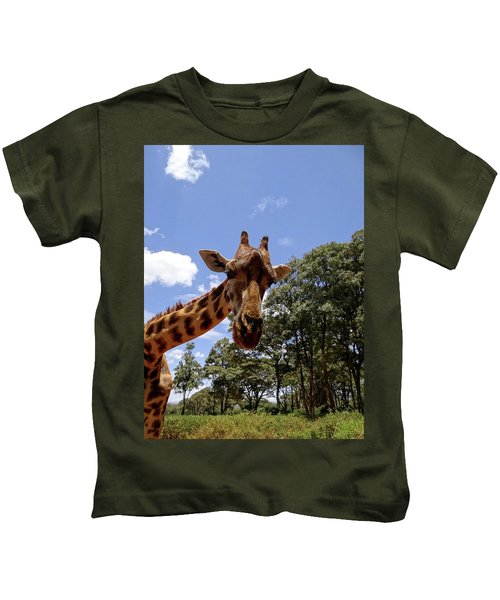Giraffe Getting Personal 4 Kids T-Shirt
