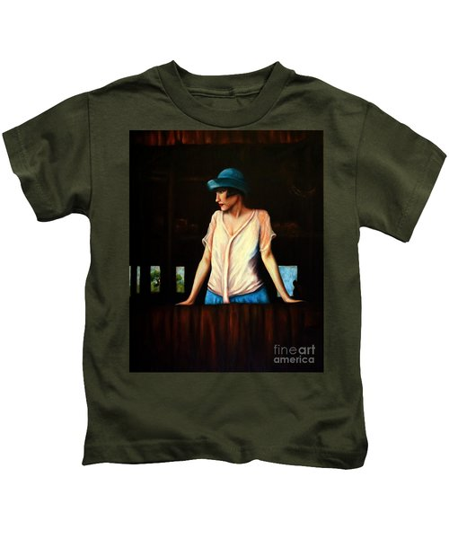 Girl In A Barn Kids T-Shirt