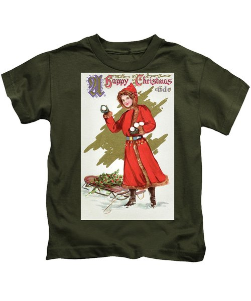 Girl Throwing Snowballs In A Christmas Landscape Kids T-Shirt