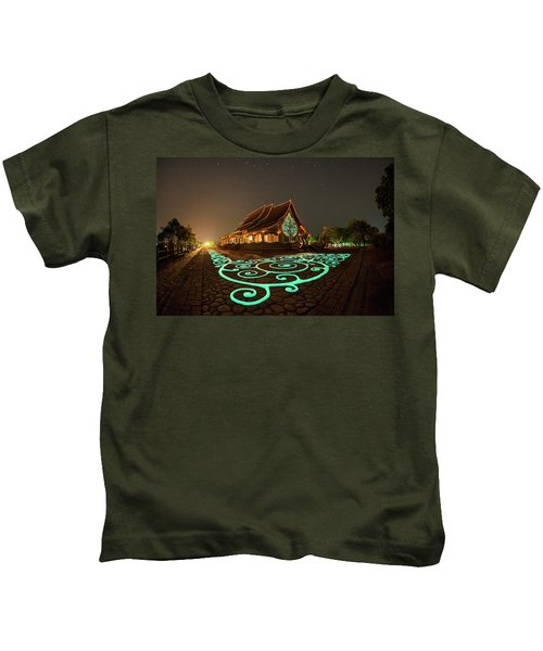 Glowing Wat Sirintorn Wararam Temple, Ubon Kids T-Shirt