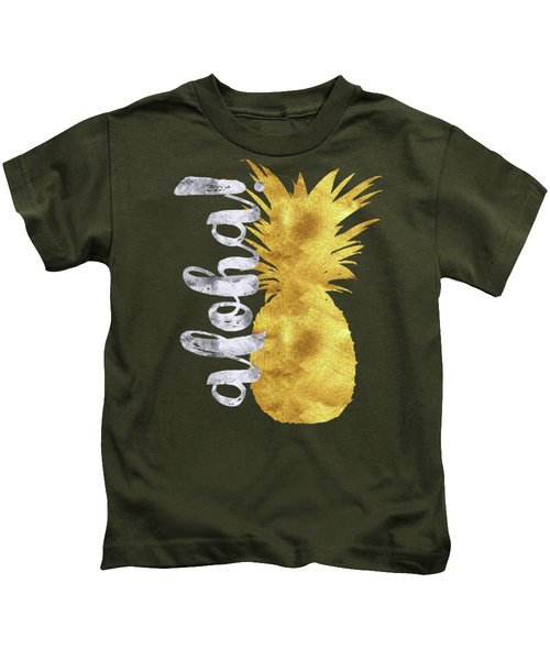 Gold And Silver Aloha Pineapple Tropical Fruit Of Hawaii Kids T-Shirt