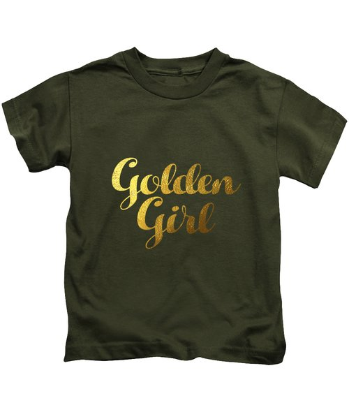 Golden Girl Typography Kids T-Shirt by BONB Creative
