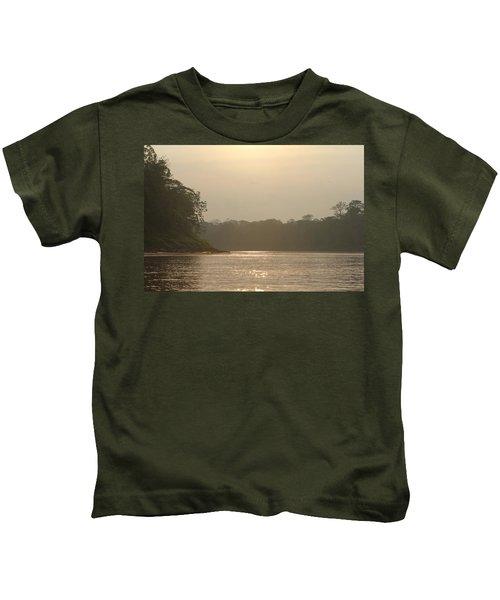 Golden Haze Covering The Amazon River Kids T-Shirt