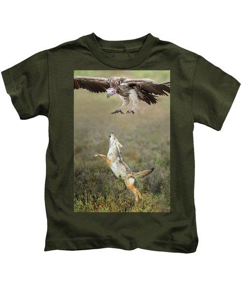 Golden Jackal, Canis Aureus, Leaping At Vulture Kids T-Shirt