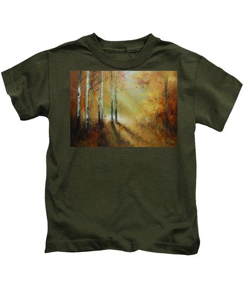 Golden Light In Autumn Woods Kids T-Shirt