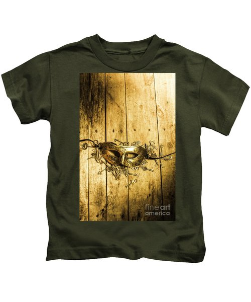 Golden Masquerade Mask With Keys Kids T-Shirt
