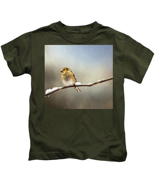 Goldfinch After A Spring Snow Storm Kids T-Shirt
