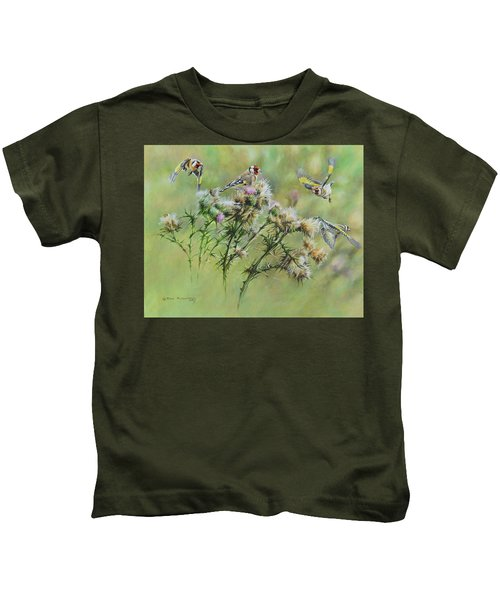Goldfinches On Thistle Kids T-Shirt