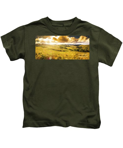 Gorgeous Golden Sunset Field  Kids T-Shirt