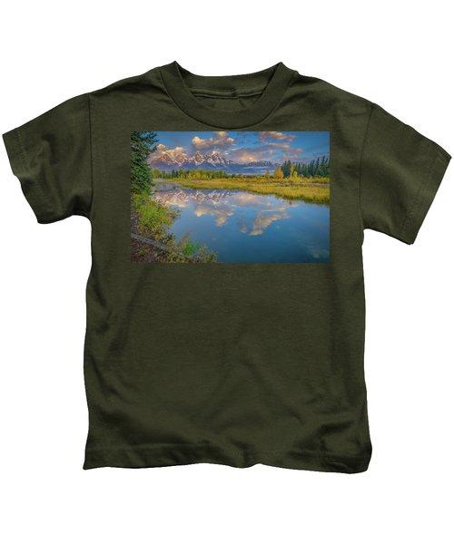 Grand Teton Morning Reflection Kids T-Shirt