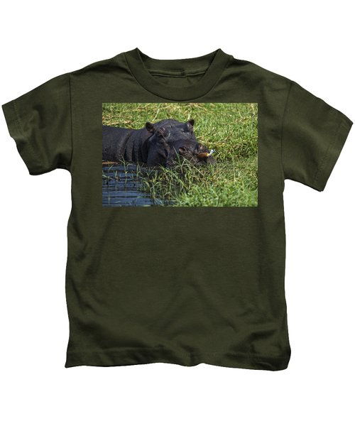 The Hippo And The Jacana Bird Kids T-Shirt