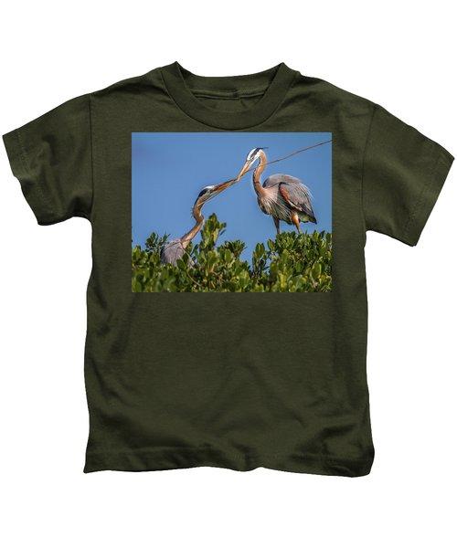 Great Blue Heron Nest Building Kids T-Shirt
