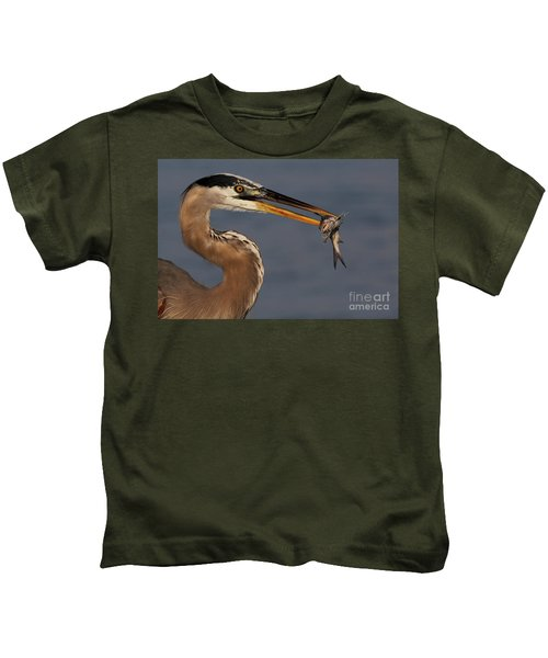 Great Blue Heron W/catfish Kids T-Shirt
