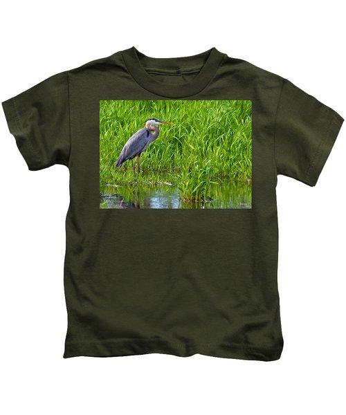 Great Blue Heron Waiting Kids T-Shirt