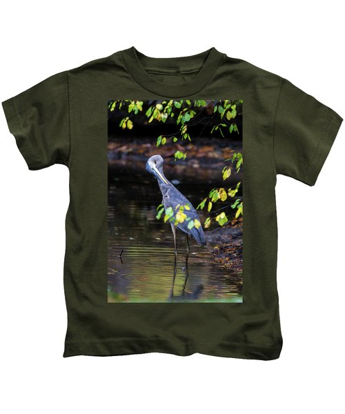 Great Blue Heron With An Itch Kids T-Shirt