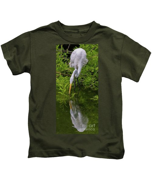 Great Egret With Its Reflection Kids T-Shirt