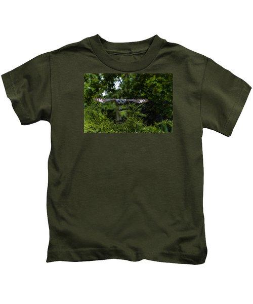 Great Grey Owl In Flight Kids T-Shirt