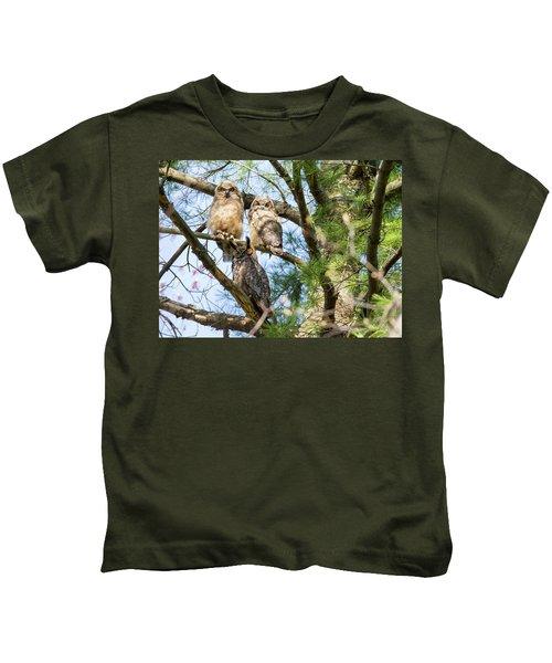 Great Horned Owl Family Kids T-Shirt