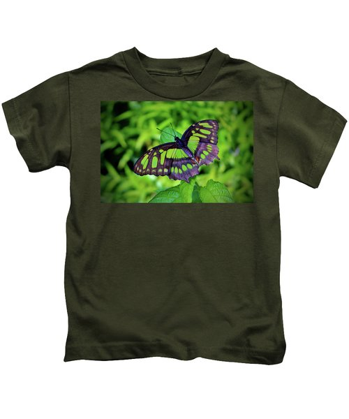 Green And Black Butterfly Kids T-Shirt