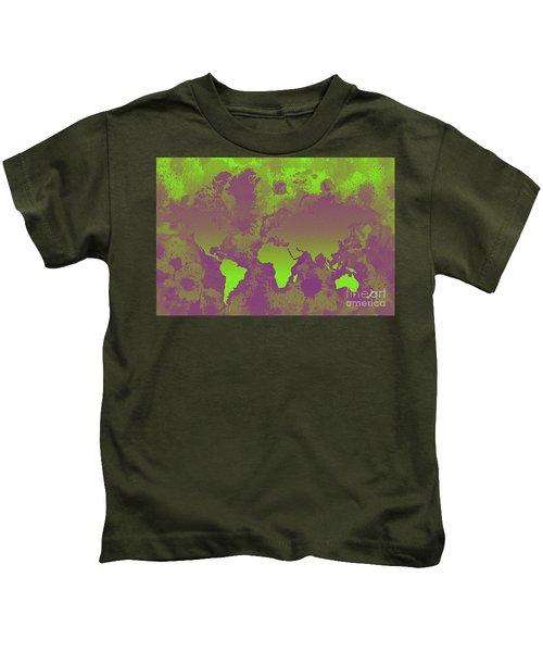 Green And Purple World Map Kids T-Shirt