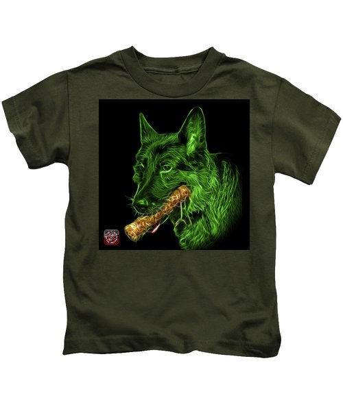 Green German Shepherd And Toy - 0745 F Kids T-Shirt