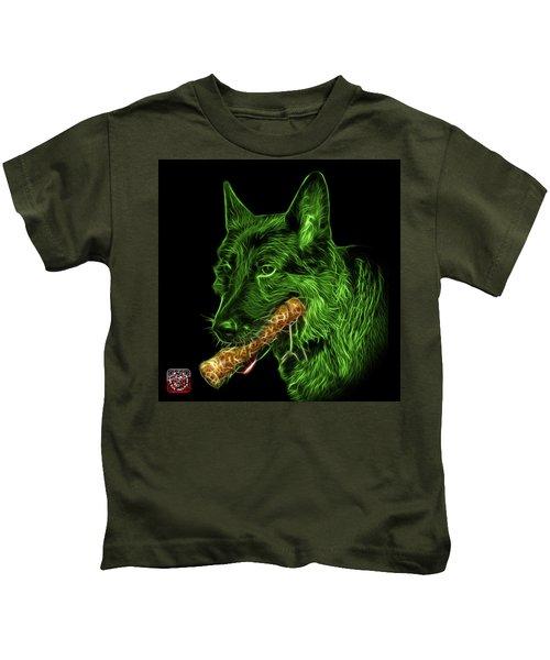 Green German Shepherd And Toy - 0745 F Kids T-Shirt