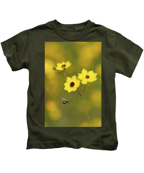 Green Metallic Bee Kids T-Shirt