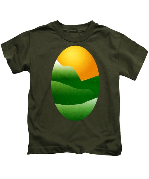 Green Mountain Sunrise Landscape Art Kids T-Shirt