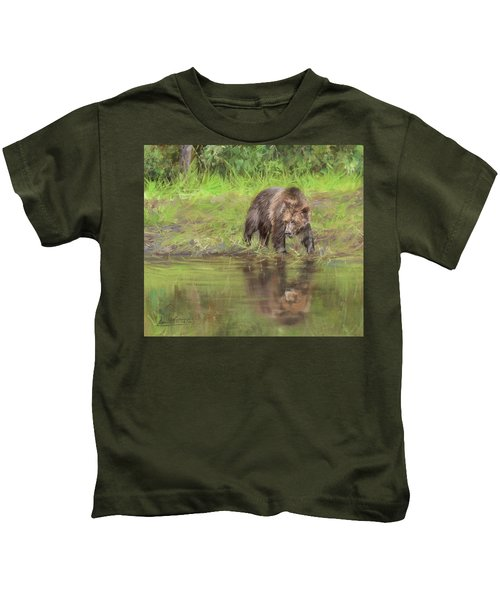 Grizzly Bear At Water's Edge Kids T-Shirt