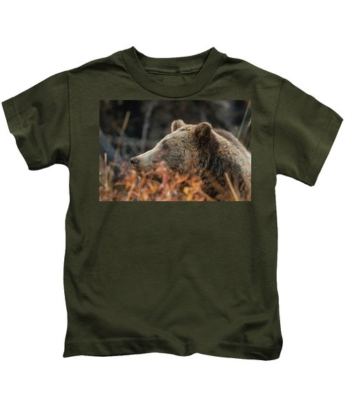 Grizzly Bear Portrait In Fall Kids T-Shirt