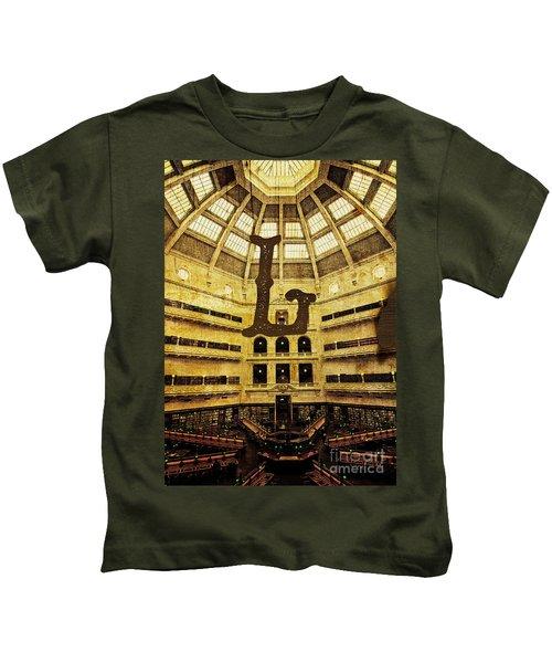 Grungy Melbourne Australia Alphabet Series Letter L State Librar Kids T-Shirt