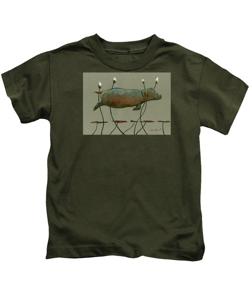Happy Hippo Swimming Kids T-Shirt