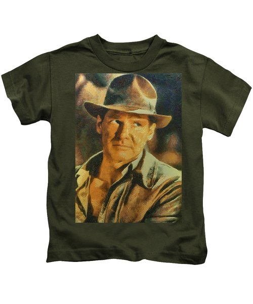 Harrison Ford As Indiana Jones Kids T-Shirt