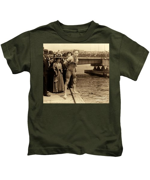 Harry Houdini In Chains, New York Harbor Kids T-Shirt