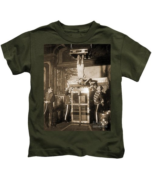 Harry Houdini Suspended Above A Tank Of Water  Kids T-Shirt