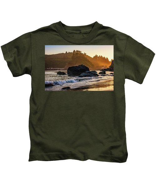 Hazy Golden Hour At Trinidad Harbor Kids T-Shirt