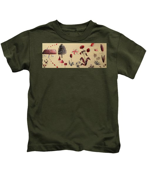Heart Cottage Red 3 Kids T-Shirt by Kathy Spall