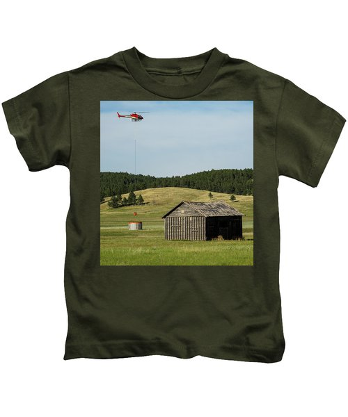 Helicopter Dips Water At Heliwell Kids T-Shirt
