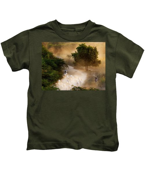 herd and farmer going home in the evening, Bagan Myanmar Kids T-Shirt