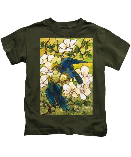 Hibiscus And Parrots Kids T-Shirt by Louis Comfort Tiffany