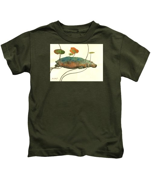 Hippo Swimming With Water Lilies Kids T-Shirt by Juan  Bosco