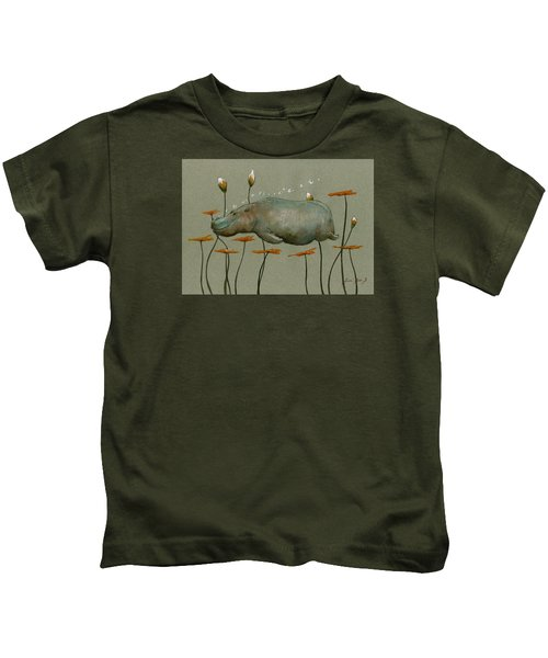 Hippo Underwater Kids T-Shirt by Juan  Bosco