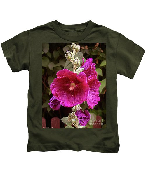 Hollyhock Splendor Kids T-Shirt