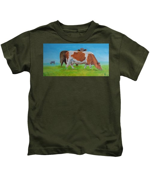 Holstein Friesian Cow And Brown Cow Kids T-Shirt