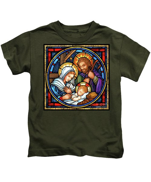 Holy Family Stained Glass Kids T-Shirt