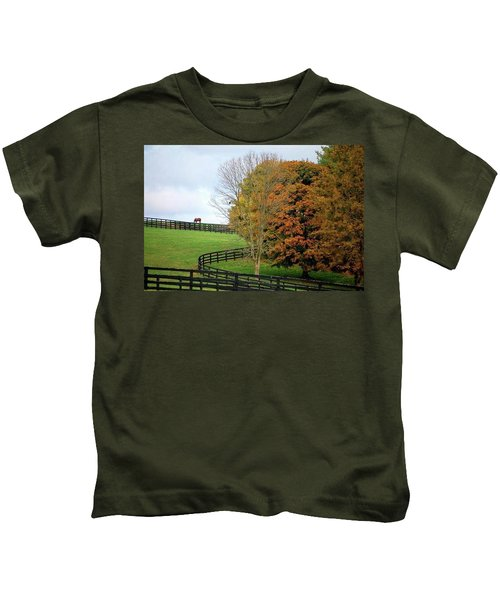 Horse Farm Country In The Fall Kids T-Shirt