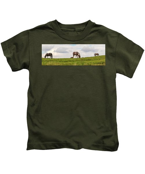 Horses And Clouds Kids T-Shirt